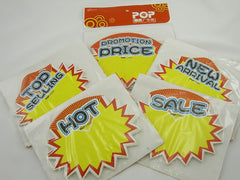 Advertising POP Paper Cards, 12x10cm, Pack of 50 Pcs, 5 Different Heading
