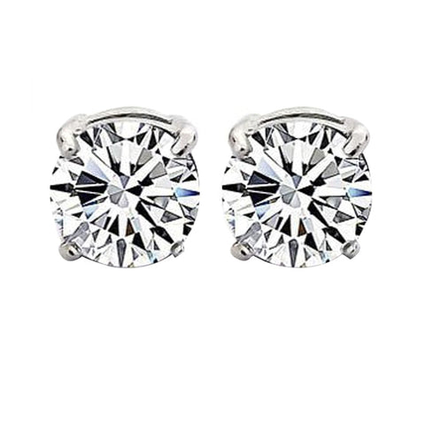 Pair of Unisex Round Zircon Magnetic Stud Earrings for Non-pierced ear, for men women