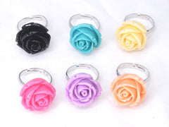 Pack of 6 Color Rose Flower Rings Adjustable Finger Rings