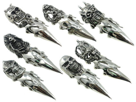 Pack of 7, Evil Skull Gothic Punk Armor Full Finger 4 Inch Long Ring