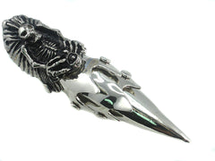 Evil Skull Gothic Punk Armor Full Finger 4 Inch Long Ring