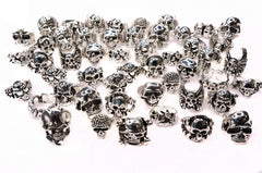 Wholesale lot of 50 Crossbones Pirate Gothic Punk Biker Skull Halloween Rings