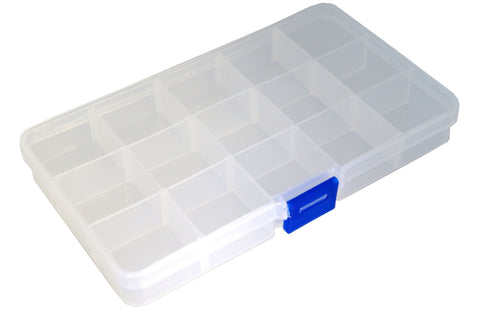 Jewerly Findings and Beads Storage Containers Plastic Box, 15 Grids, 10cmx17.5cm
