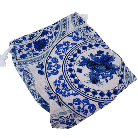 Blue and White Flower Pattern Printed Pouches with Drawstring for Gift Packaging Bags 14x16cm, Pack of 5 (B)