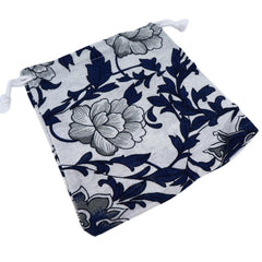 Blue and White Flower Pattern Printed  Pouches with Drawstring for Gift Packaging Bags 14x16cm, Pack of 5 (D)