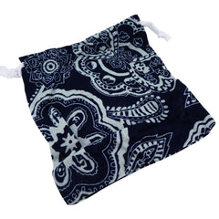 Blue and White Flower Pattern Printed  Pouches with Drawstring for Gift Packaging Bags 14x16cm, Pack of 5 (E)