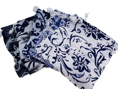 Blue and White Flower Pattern Printed  Pouches with Drawstring for Gift Packaging Bags 14x16cm, Pack of 5 (MIX)