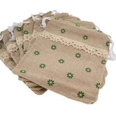 Green Flower Lace Ribbon Linen Pouches with Drawstring for Gift Packaging Bags 14x16cm, Pack of 6