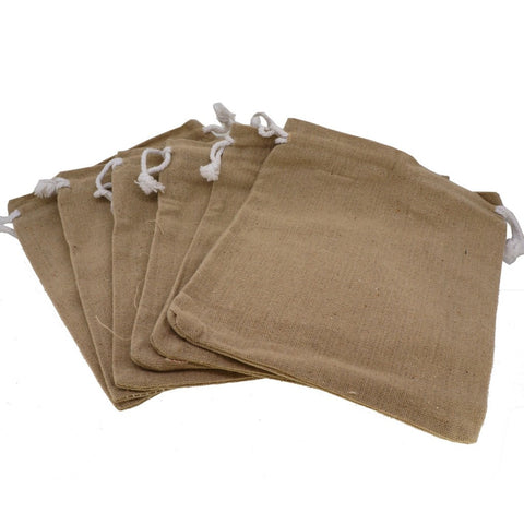Nactural Linen Pouches with Drawstring for Gift Packaging, 14x16cm, Pack of 6