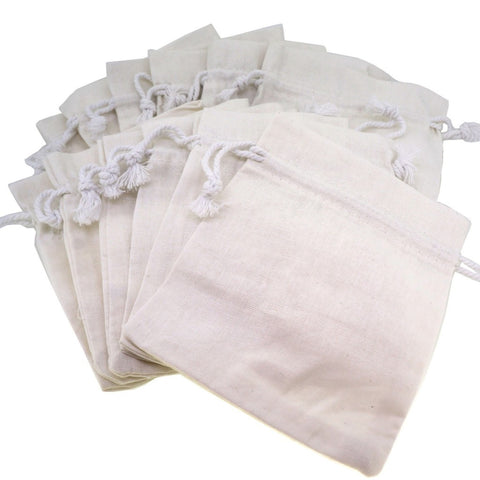White Cotton Calico Pouch with Drawstring for Gift Packaging, 10x12cm, Pack of 12