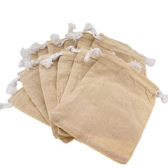 Cream Color Cotton Pouch with Drawstring for Gift Packaging, 9x12cm, Pack of 12
