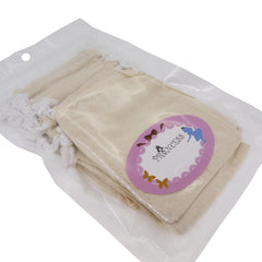 Cream Color Cotton Pouch with Drawstring for Gift Packaging, 8x11cm, Pack of 12