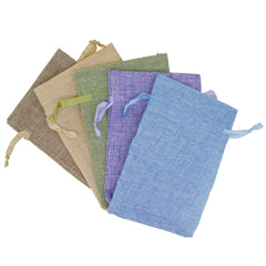 Stylish Mix Color Linen Pouches with Ribbon Drawstring for Gift Packaging, 10x15cm, Pack of 10