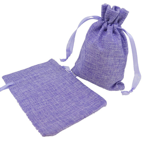 Stylish Purple Color Linen Pouches with Ribbon Drawstring for Gift Packaging, 10x15cm, Pack of 10