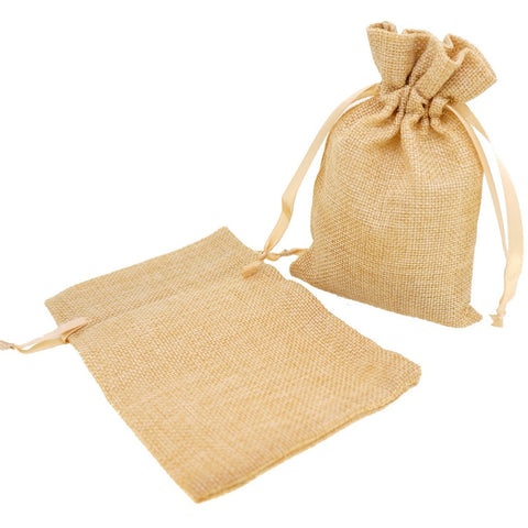 Stylish Beige Color Linen Pouches with Ribbon Drawstring for Gift Packaging, 14x18cm, Pack of 10
