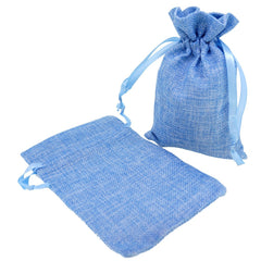 Stylish Blue Color Linen Pouches with Ribbon Drawstring for Gift Packaging, 14x18cm, Pack of 10
