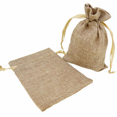 Stylish Brown Color Linen Pouches with Ribbon Drawstring for Gift Packaging, 14x18cm, Pack of 10