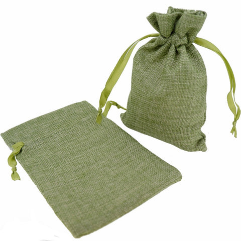 Stylish Green Color Linen Pouches with Ribbon Drawstring for Gift Packaging, 14x18cm, Pack of 10