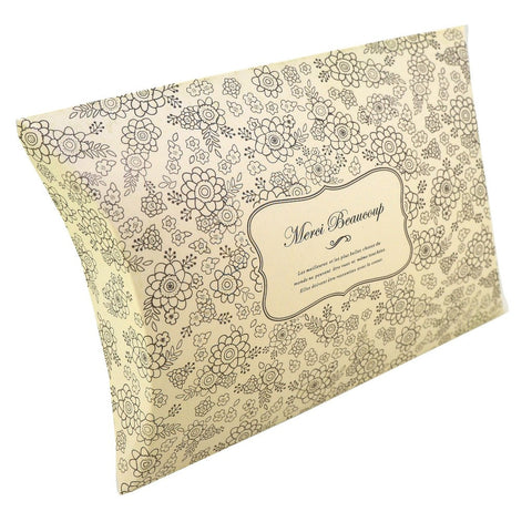 Flower Pattern Pillow Favor Boxes for Candy, Jewelry or Small Gift, Grey Color, Pack of 10