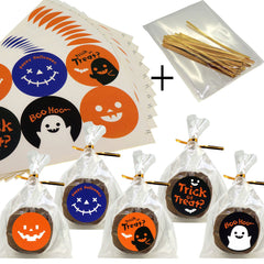 Halloween cello Treat bags for Cookie Biscuits Candy Cake Baking Packaging, Pack of 50 bags and 60 Stickers