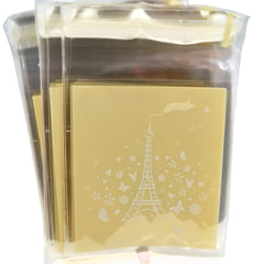 White Eiffel Tower Half Clear Cookie Candy party Gift Wrapping Bags Self-Adhesive, Pack of 95