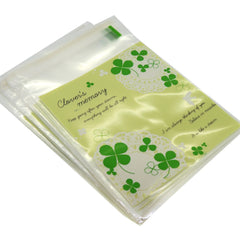 Green Lucky Leaf Half Clear Cookie Candy Party Gift Wrapping Bags Self-Adhesive, Pack of 95