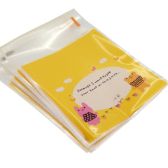 Rabbit n Bear Cookie Candy Gift Wrapping Yellow Bags, Pack of 95