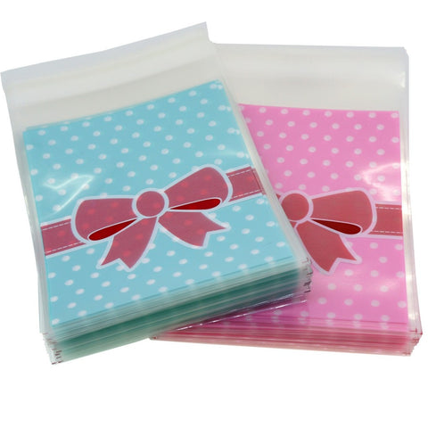 Pink n Blue Bowknot Flat Cellophane Cookie Candy Party Bags with Adhesive Closure, 95/Pack