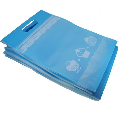 50Pcs Blue Cake Cookie Bread Baking Craft Treat Tote Ziplock Re-sealable Packing Bags