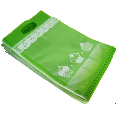 50Pcs Green Cake Cookie Bread Baking Craft Treat Tote Ziplock Re-sealable Packing Bags