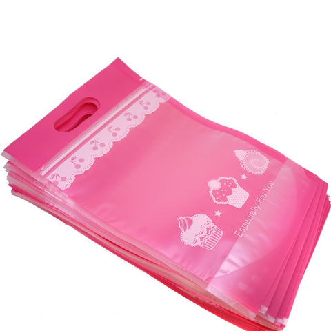 50Pcs Pink Cake Cookie Bread Baking Craft Treat Tote Ziplock Re-sealable Packing Bags