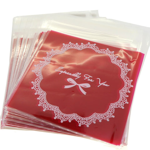 Red Bowknot Especially for You Cookie Candy Sweet Party Gift Wrapping Packaging Bags, Pack of 95