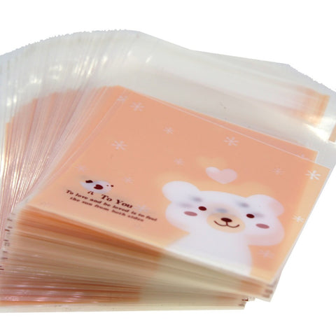 Lovely Bear Flat Cellophane Cookie Candy Party Bags with Adhesive Closure, Pink Color, 95/Pack