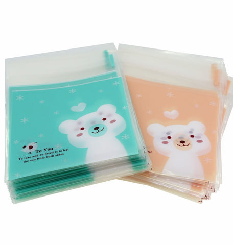 Lovely Bear Flat Cellophane Cookie Candy Party Bags with Adhesive Closure, Mix Color, 95/Pack