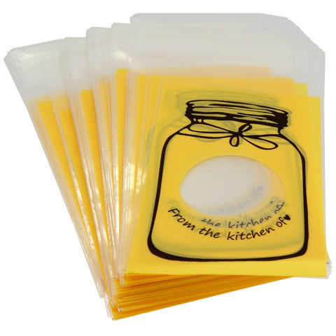 Yellow Bottle Design Flat Cellophane Cookie Candy Party Bags with Adhesive Closure, 95/Pack