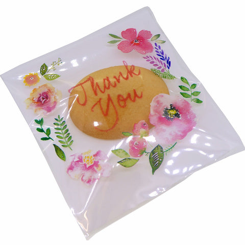 Flower Pattern Thank You Bags for Cookie Candy, Soap Gift Packaging, Pack of 95