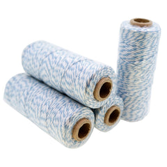 Blue Color Cotton Baker's Twine for Gift Wrapping Packaging, 50 meter each roll, Value Pack of 4 rolls
