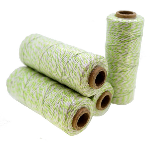 Green Color Cotton Baker's Twine for Gift Wrapping Packaging, 50 meter each roll, Value Pack of 4 rolls