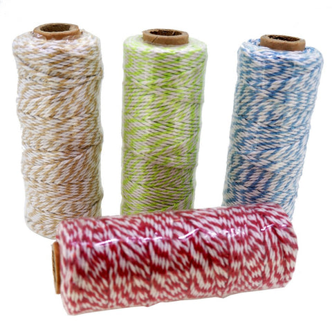 4 Mix Color Cotton Baker's Twine for Gift Wrapping Packaging, 50 meter each roll