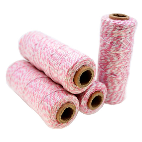 Pink Color Cotton Baker's Twine for Gift Wrapping Packaging, 50 meter each roll, Value Pack of 4 rolls