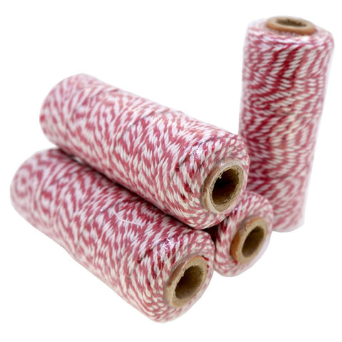 Red Color Cotton Baker's Twine for Gift Wrapping Packaging, 50 meter each roll, Value Pack of 4 rolls