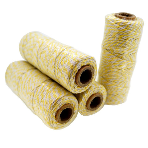 Yellow Color Cotton Baker's Twine for Gift Wrapping Packaging, 50 meter each roll, Value Pack of 4 rolls