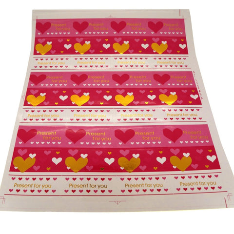Present for You Sticker , Heart Pattern, 4.8x2.5cm, Pink Color, 72 Stickers, Great for Card-Making / Home Baking