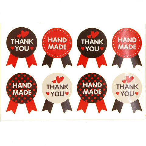 Thank You / Hand Made Brown n Red Badge Sticker for Gift Packaging, Pack of 80