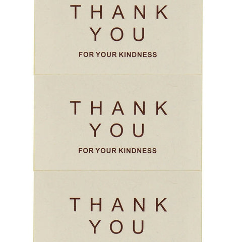 Thank You For Your Kindness White Sticker for Gift Packaging, Pack of 80