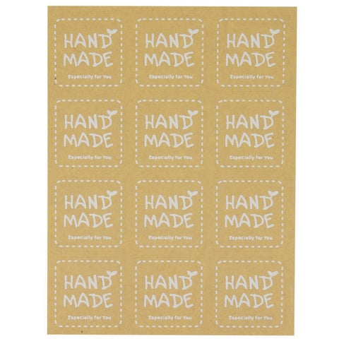 Hand Made Especially for You Kraft Square Sticker for Home Baking Gift Packaging, Pack of 120
