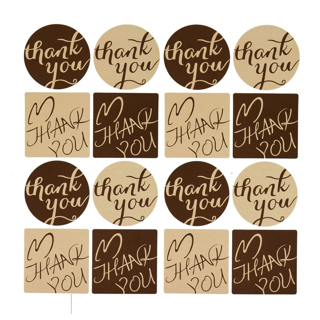 thank you sticker for gift packaging, brown color, round and square