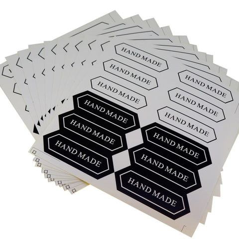 Black and White Hand Made Sticker for Home Baking Gift Packaging, Pack of 120