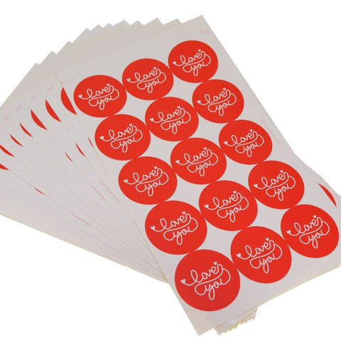 Red Love You Round Sticker for Home Baking Gift Packaging, Pack of 150