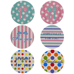 Fancy Color Polka Dot / Stripe Round Sticker for Gift Wrapping Packaging, Pack of 60 pcs